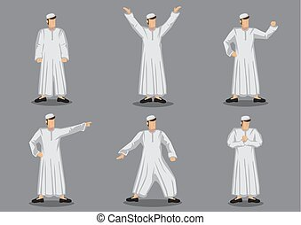 Muslim Man in Traditional Costume Character Design Vector Illustration