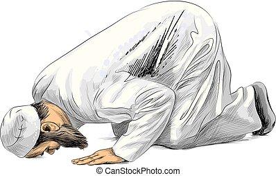 Muslim man praying, hand drawn sketch, illustration of paints