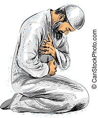 Muslim man praying, hand drawn sketch on white background