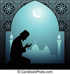 Muslim man praying illustration