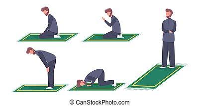 Muslim man praying position. Man in traditinal clothes