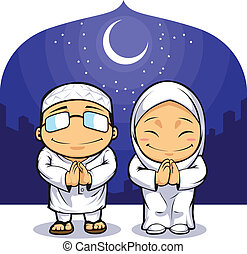Muslim Man Woman Greeting Ramadan - A vector image of a man...