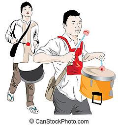 Muslim men drumming