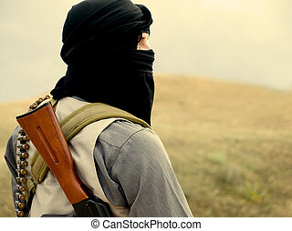 militant - Muslim militant with rifle