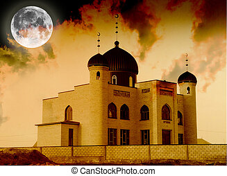 mosque and the moon. Kazakhstan