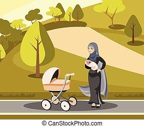 Muslim mother walking with kid in park