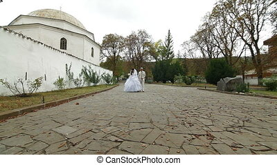 Muslim newlyweds in Bakhchisarai