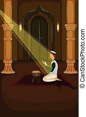 Muslim offering namaaz on Eid in vector