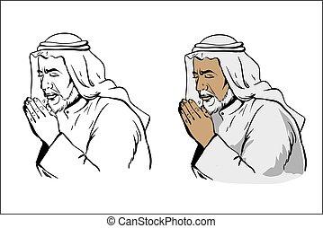 Muslim old wise man praying hand drawn vector illustration...