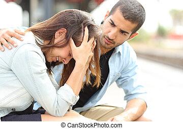muslim, opłakiwanie, utulając, dziewczyna, smutny, człowiek