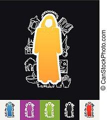 muslim paper sticker with hand drawn elements