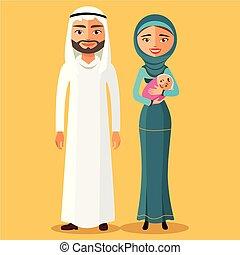 muslim parents with a newborn baby happy.