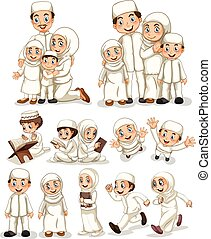 Muslim people doing activities