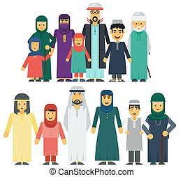 Muslim people father, mother, grandmother, grandfather, son and daughter standing together. Traditional islamic muslim family vector illustration.