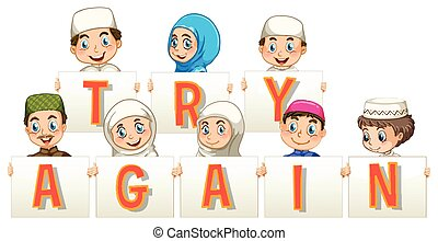 Muslim people holding sign for try again illustration