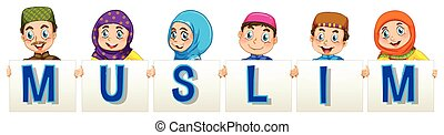 Muslim people holding sign