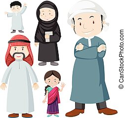 Muslim people in traditional costume