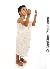 muslim, pielgrzymka, w, biały, tradycyjny, odzież