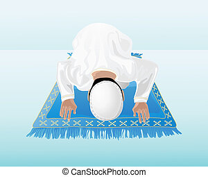 an illustration of a muslim man praying on a decorated blue mat with a blue green background