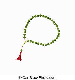 Muslim prayer beads icon, cartoon style