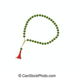 Muslim prayer beads icon, cartoon style