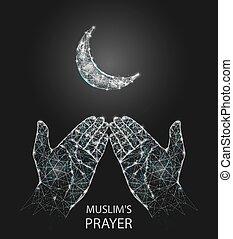 Muslim prayer hands vector geometric polygonal background