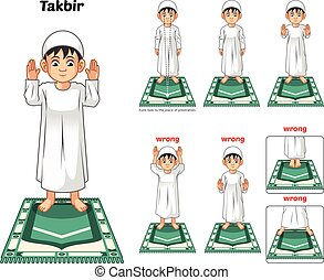 Muslim Prayer Position Guide Step by Step Perform by Boy with Wrong Position
