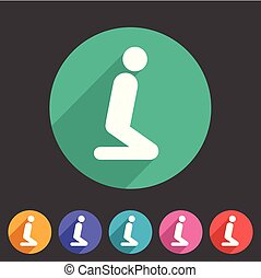 muslim prayer room area icon flat web sign symbol logo label