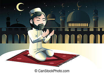 Muslim praying - A vector illustration of a muslim praying...