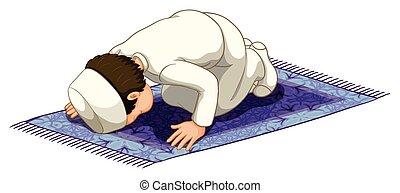 Muslim praying on the carpet