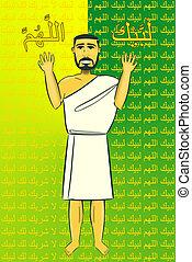 Haj - Muslim Praying The Beginning Of Haj Ceremony