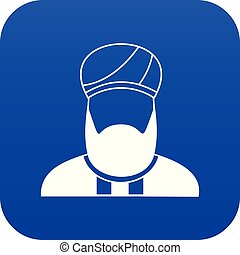 Muslim preacher icon digital blue for any design isolated on...