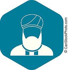 Muslim preacher icon, simple style - Muslim preacher icon in...