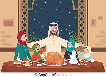 Muslim ramadan dinner. Saudi family with kids eating home. Ramadan cartoon vector illustration