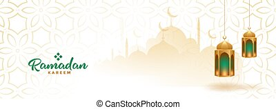 muslim ramadan kareem seasonal banner with hanging lanterns