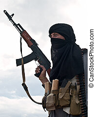 Muslim rebel with AK assault rifle - Muslim rebel with rifle