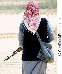 rebel - Muslim rebel with rifle
