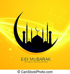 muslim religion eid festival greeting design with moon and mosque  sc 1 st  Can Stock Photo : masjid door vector - pezcame.com
