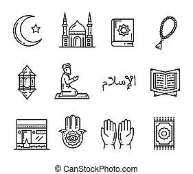 Muslim religion holy culture outline icons - Islam religion...