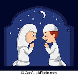 muslim, rysunek, koźlę