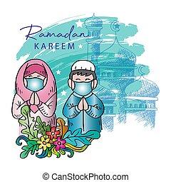 muslim., saludo, kareem, niña, tarjeta, ramadan, niño, lindo