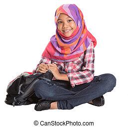 Muslim School Girl - Young Muslim school girl with backpack...