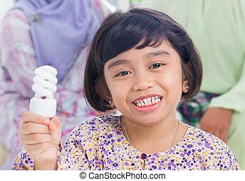Asian girl lightbulb idea
