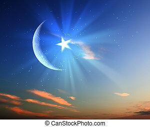 muslim star and moon on blue sky - symbols of islam religion...