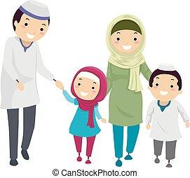 muslim, stickman, rodzina, ilustracja, chód