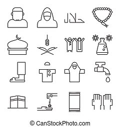 Illustration vector graphic of simple outline Islamic icon set. Fit to use for online Muslim store, etc.