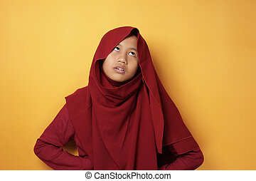 Muslim Teenage Girl Shows Annoyed Upset Expression - ...