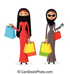 Muslim womam shopping. Beautiful young arab women with shopping bags. flat cartoon vector illustration. Eps10. Isolated on a white background.