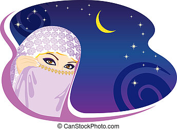 Muslim woman and arabian night. Vector illustration.