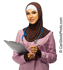 Muslim woman doctor with tablet